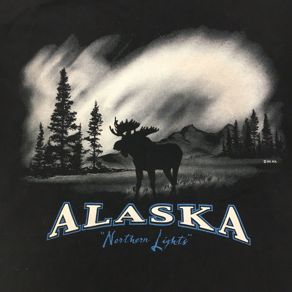 Vintage Alaska Northern Lights Moose Tourist Souvenir T Shirt Medium