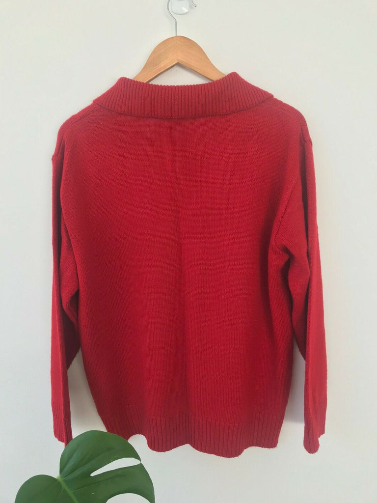 Vintage Red Collared Jumper Wool Cable Knit