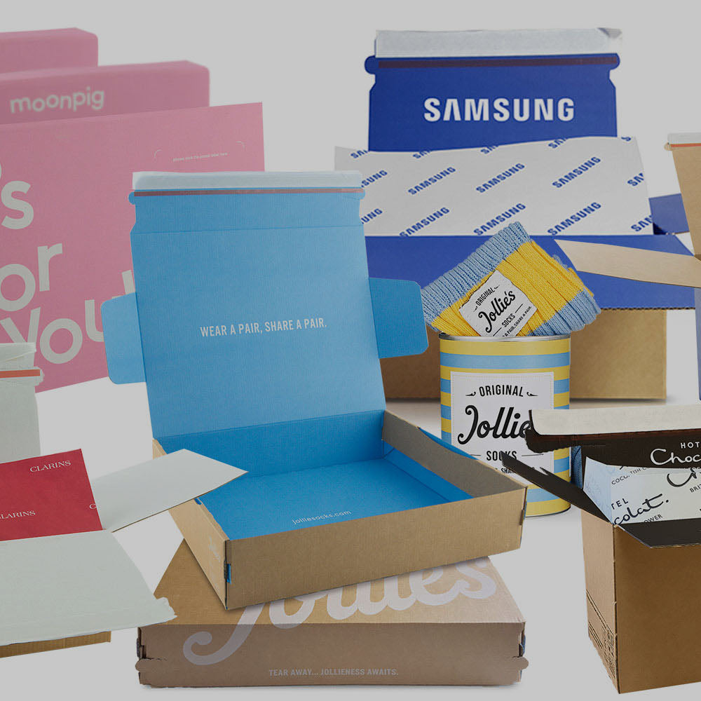 custom printed postal packaging hotel chocolat, moonpig, clarins, hawes & curtis