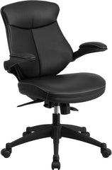 Mid-Back Black Leather Executive Swivel Office Chair with Back Angle Adjustment and Flip-Up Arms