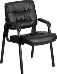 Black Leather Executive Side Chair with Black Frame Finish