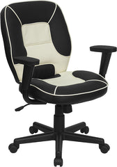 Mid-Back Black and Cream Vinyl Steno Executive Swivel Office Chair