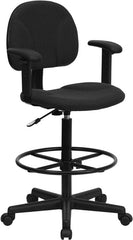 Black Patterned Fabric Ergonomic Drafting Chair with Height Adjustable Arms (Adjustable Range 22.5''-27''H or 26''-30.5''H)