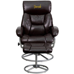 Personalized Contemporary Brown Leather Recliner and Ottoman with Metal Base