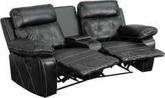 Real Comfort Series 2-Seat Reclining Black Leather Theater Seating Unit with Curved Cup Holders