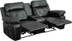 Real Comfort Series 2-Seat Reclining Black Leather Theater Seating Unit with Straight Cup Holders