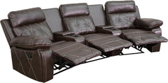 Real Comfort Series 3-Seat Reclining Brown Leather Theater Seating Unit with Curved Cup Holders