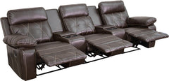 Real Comfort Series 3-Seat Reclining Brown Leather Theater Seating Unit with Straight Cup Holders