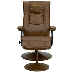 Personalized Contemporary Palimino Leather Recliner and Ottoman with Leather Wrapped Base