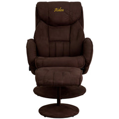 Personalized Contemporary Brown Microfiber Recliner and Ottoman with Circular Microfiber Wrapped Base
