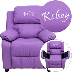 Personalized Deluxe Padded Lavender Vinyl Kids Recliner with Storage Arms