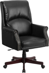 High Back Pillow Back Black Leather Executive Swivel Office Chair