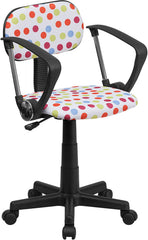 Multi-Colored Dot Printed Swivel Task Chair with Arms