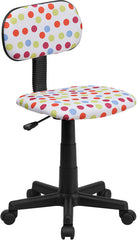 Multi-Colored Dot Printed Swivel Task Chair