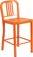 24'' High Orange Metal Indoor-Outdoor Counter Height Stool