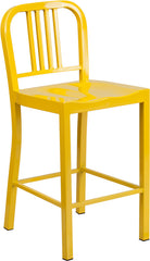 24'' High Yellow Metal Indoor-Outdoor Counter Height Stool