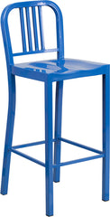 30'' High Blue Metal Indoor-Outdoor Barstool