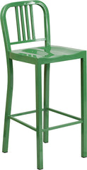 30'' High Green Metal Indoor-Outdoor Barstool