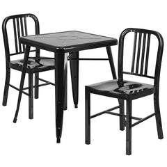 Black Metal Indoor-Outdoor Table Set with 2 Vertical Slat Back Chairs