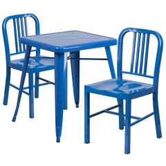 Blue Metal Indoor-Outdoor Table Set with 2 Vertical Slat Back Chairs