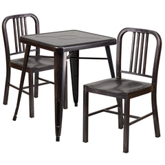 Black-Antique Gold Metal Indoor-Outdoor Table Set with 2 Vertical Slat Back Chairs