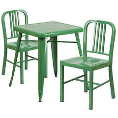 Green Metal Indoor-Outdoor Table Set with 2 Vertical Slat Back Chairs