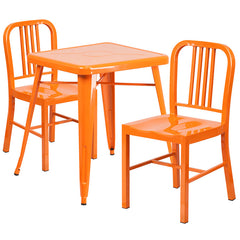 Orange Metal Indoor-Outdoor Table Set with 2 Vertical Slat Back Chairs