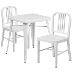 White Metal Indoor-Outdoor Table Set with 2 Vertical Slat Back Chairs