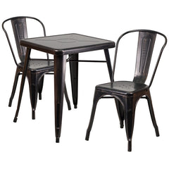Black-Antique Gold Metal Indoor-Outdoor Table Set with 2 Stack Chairs