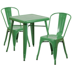 Green Metal Indoor-Outdoor Table Set with 2 Stack Chairs