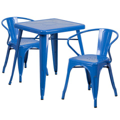 Blue Metal Indoor-Outdoor Table Set with 2 Arm Chairs
