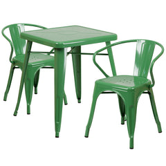 Green Metal Indoor-Outdoor Table Set with 2 Arm Chairs