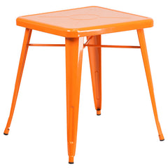 24'' Square Orange Metal Indoor-Outdoor Table