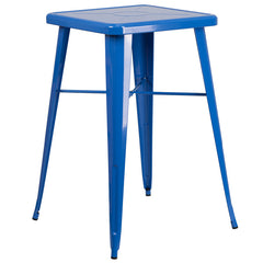 24'' Square Blue Metal Indoor-Outdoor Bar Height Table