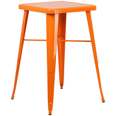 24'' Square Orange Metal Indoor-Outdoor Bar Height Table