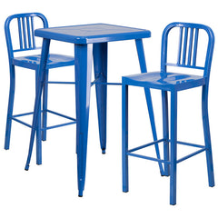 Blue Metal Indoor-Outdoor Bar Table Set with 2 Vertical Slat Back Barstools