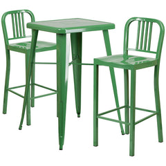 Green Metal Indoor-Outdoor Bar Table Set with 2 Vertical Slat Back Barstools