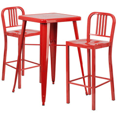 Red Metal Indoor-Outdoor Bar Table Set with 2 Vertical Slat Back Barstools