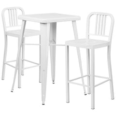 White Metal Indoor-Outdoor Bar Table Set with 2 Vertical Slat Back Barstools