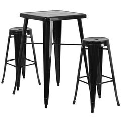 Black Metal Indoor-Outdoor Bar Table Set with 2 Backless Barstools