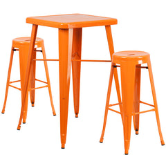 Orange Metal Indoor-Outdoor Bar Table Set with 2 Backless Barstools