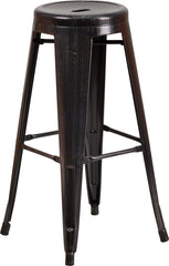 30'' High Backless Black-Antique Gold Metal Indoor-Outdoor Barstool with Round Seat