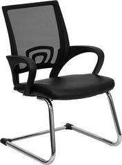 Black Leather Office Side Chair with Black Mesh Back and Sled Base