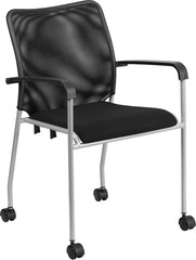 Stackable Black Mesh Side Chair with Casters