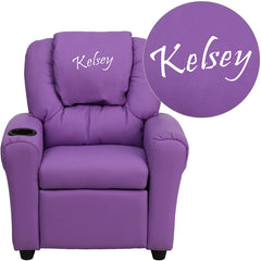Personalized Lavender Vinyl Kids Recliner with Cup Holder and Headrest