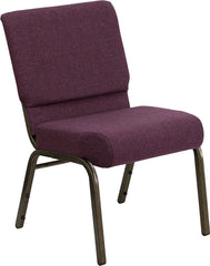 HERCULES Series 21'' Extra Wide Plum Fabric Stacking Church Chair with 4'' Thick Seat - Gold Vein Frame