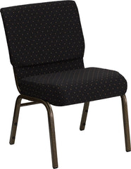 HERCULES Series 21'' Extra Wide Black Dot Patterned Fabric Stacking Church Chair with 4'' Thick Seat - Gold Vein Frame
