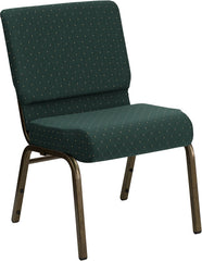 HERCULES Series 21'' Extra Wide Hunter Green Dot Patterned Fabric Stacking Church Chair with 4'' Thick Seat - Gold Vein Frame