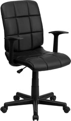 Mid-Back Black Quilted Vinyl Swivel Task Chair with Nylon Arms