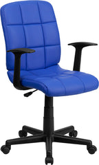 Mid-Back Blue Quilted Vinyl Swivel Task Chair with Nylon Arms